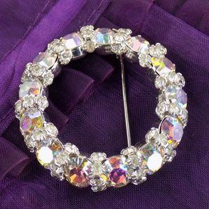 vintage  WARNER Aurora Borealis Rhinestone brooch